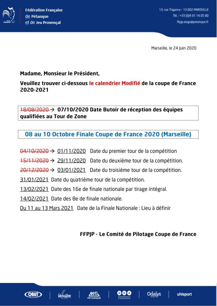 calendrier modifié de la Coupe de France 2020 2021.   comité de